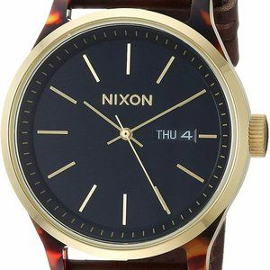 Mens Luxe 42mm Black Dial Leather Watch